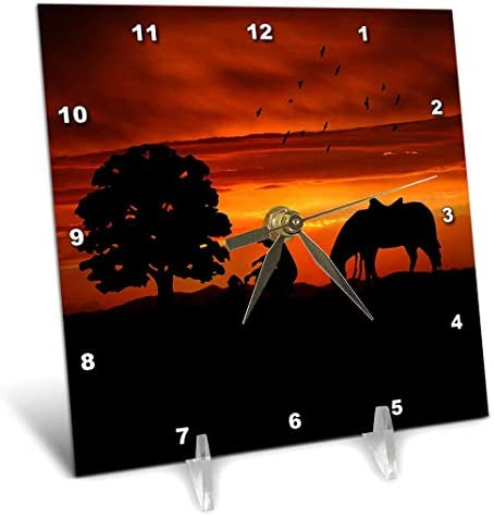 3dRose Cowboy Campfire with Horse on A Hill at Sunset Has A Western Feel. – Desk Clock, 6 by 6-Inch dc_173217_1