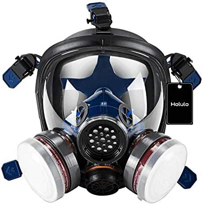 Holulo Organic Vapor Full Face Safety Respirator Mask Respiratory Protection Gas Masks Paint  Chemical Formaldehyde Anti Virus Full w/Activated Carbon Respirator