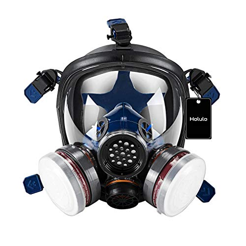 Holulo Organic Vapor Full Face Respirator Respiratory Protection Gas Masks Paint Pesticide Chemical Formaldehyde Anti Virus Full w/ Activated Carbon Respirator