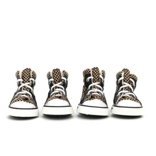 Wonpet Trellis Design Strap Pet Casual Shoes Dog Boots Coffee Size 4, My Pet Supplies