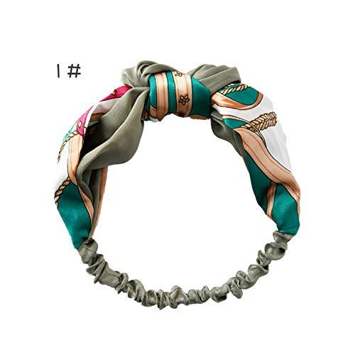 - Korean Style Hairband Turban Twist Cross Headband Headwrap Floral Elastic Knot (Model - 1)