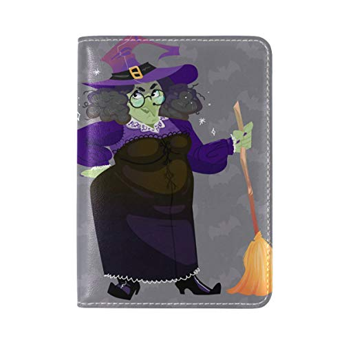 Witch Broom Bat Genuine Leather Passport Case Holder Cover Protector for -