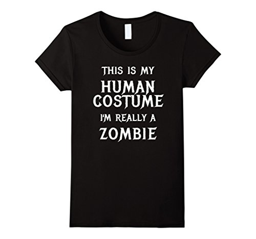 Funny Halloween Costumes Easy (Womens Zombie Halloween Costume Shirt Easy Funny for Men Boys Girl Large Black)