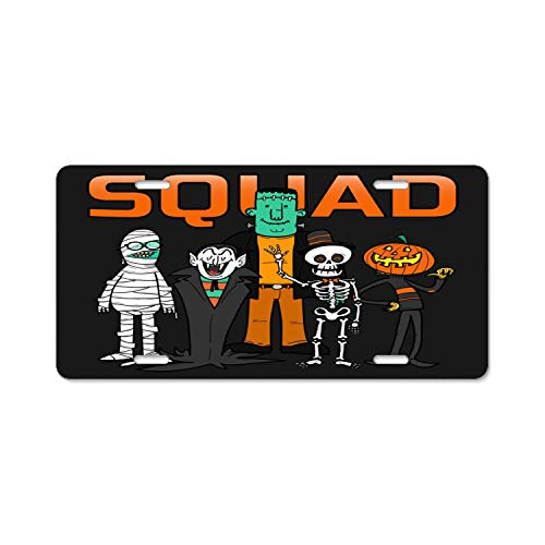 Seandsf Squad Halloween Car License Plate Tag Car Accessory for Vehicles Bicycle Holder