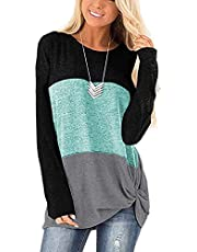 isermeo Women's Tunic Tops Color Block Side Twist Knotted Long Sleeve Shirts Casual Blouse S-XXL