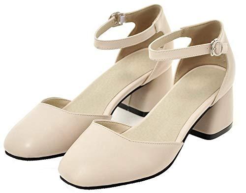 Agoolar Tacco Donna Fibbia Medio Ballet Luccichio flats Puro Beige Gmmdb010589 T1fHrnWT