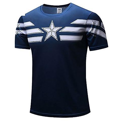 HOCOOL Men's Compression Fitness Tee,Captain-America Quick-dry Sport Shirt M (Hulk Workout Tank)