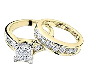 Princess Cut Diamond Engagement Ring and Wedding Band Set 1/2 Carat (ctw) in 10K White Gold (yellow-gold, 5)