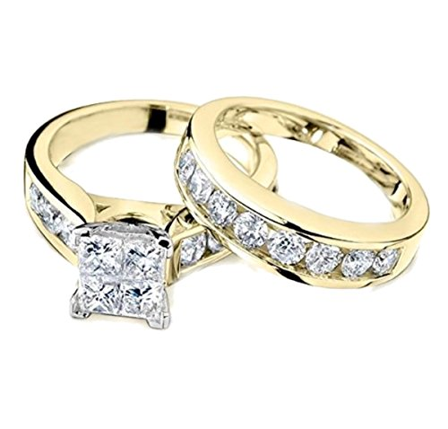 IdealCutGems Princess Cut Diamond Engagement Ring and Wedding Band Set 1/2 Carat (ctw) in 10K White Gold (yellow-gold, 7) (Diamond Invisible Set Bridal)