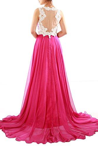 MACloth Women Lace Straps Ruched Chiffon Long Prom Dress Evening Formal Gown Lavanda