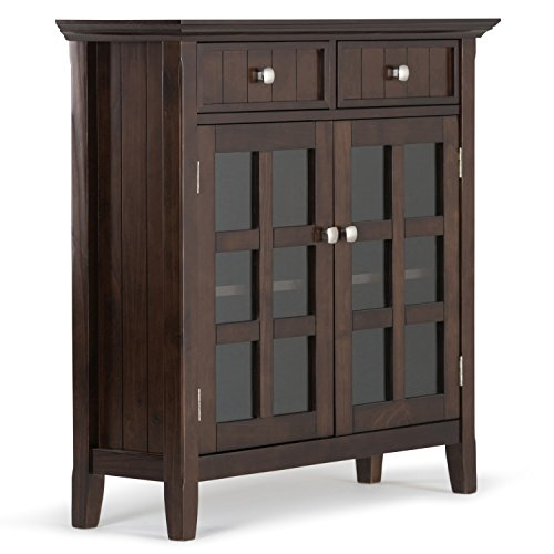 Simpli Home Acadian Solid Wood Entryway Storage Cabinet, Tobacco Brown