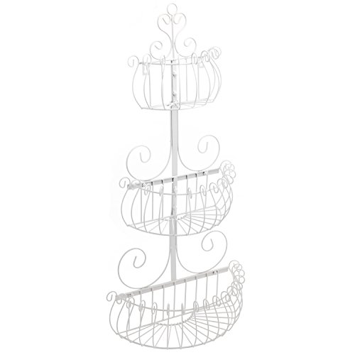 Wall Mounted Scrollwork Design Deluxe 3 Tier Cream Iron Fruit Basket / Kitchen Storage Rack - MyGift - Cream Wall Iron