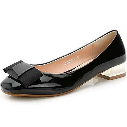 AalarDom Womens Patent Leather Square Toe Pull-On Low-Heels Pumps-Shoes with Bowknot Black RWQkq