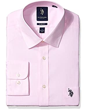 Men's Slim Fit Solid Semi Spread Collar Dress Shirt