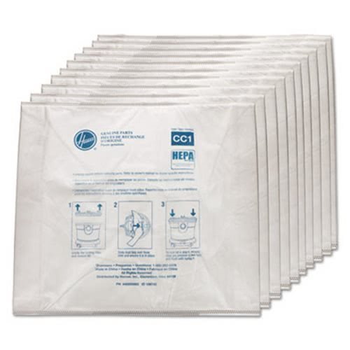 Hoover Commercial AH10363 Disposable Vacuum Bags Hepa CC1 10/Pack