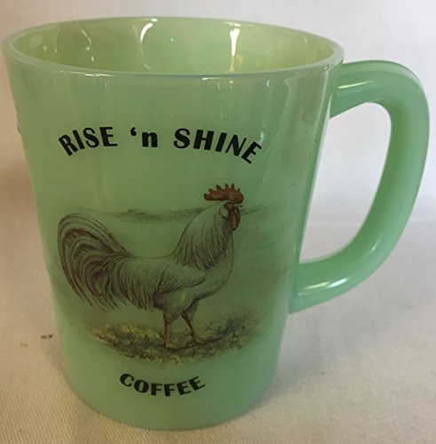 Rise N Shine Coffee - Chicken White Leghorn Rooster - Jade Jadeite Jadite Green Glass Coffee Mug - USA - American -