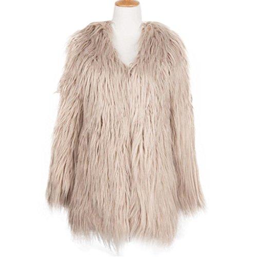 para de Piel Caqui KaloryWee Abrigo Abrigo para Mujer Fox Parka de Mujer Sintética Cálida Invierno w7AqR7zU