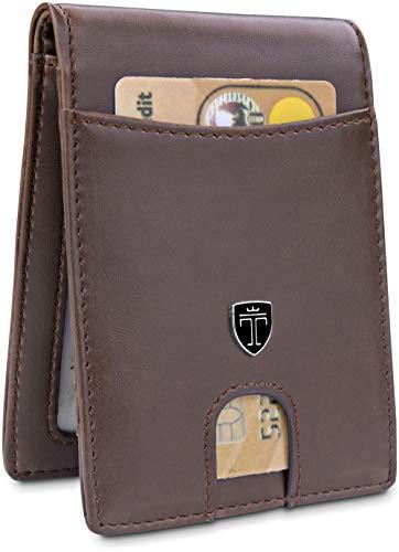 "- TRAVANDO Slim Wallet for Men ""DENVER"" – RFID Blocking – Bill Compartment – Vintage Design - Front Pocket Minimalist"