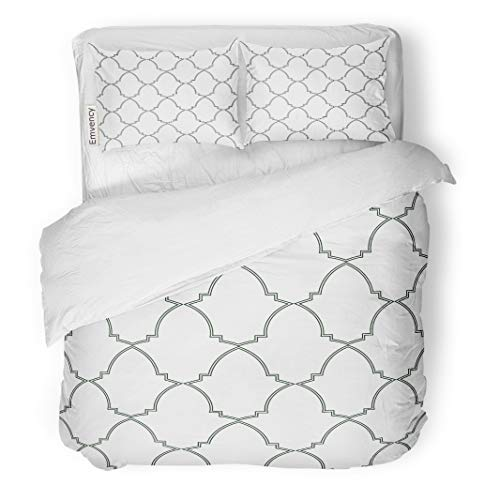 Semtomn Decor Duvet Cover Set King Size Moorish Trellis Inspired by Alhambra Palace Wall Ceramics 3 Piece Brushed Microfiber Fabric Print Bedding Set Cover]()