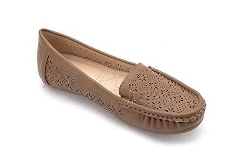taupe On Womens Driving Casual Moccasins Lady Walking Flats Mlia Slip 1 amp; Shoes Loafer 5IwOnq