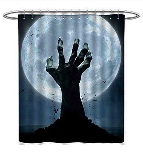 Anhuthree Halloween Shower Curtains Sets Bathroom Realistic Zombie Earth Soil Full Moon Bat Horror Story October Twilight Themed Bathroom Accessories W69 x L84 Blue Black
