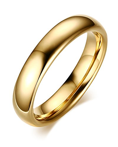 Couples 6mm/4mm Gold Plated-tone Domed High Polished Plain Tungsten Wedding Ring Band for Men&women