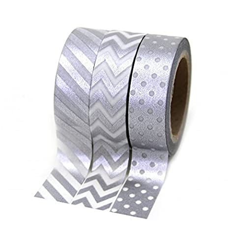 Dress My Cupcake Party Collection Washi Paper Tape, Silver, Set of 3 - Silver Wedding Collection