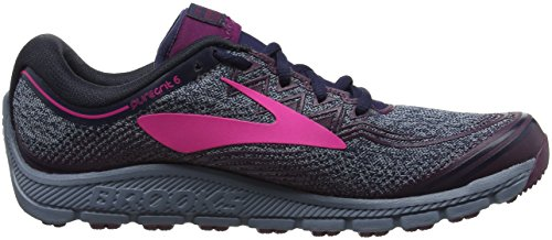 Brooks PureGrit 6, Zapatillas de Running Para Mujer Multicolor (Navy/plum/pink 1b418)