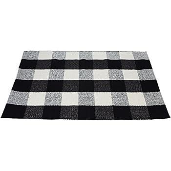 Amazon Com Black And White Stripes Fabric Door Mat Rug