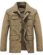 Heihuohua Men's Casual Military Jacket Lightweight Cotton Windbreaker