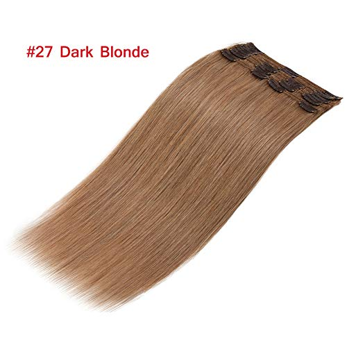 Double Weft Dark Blonde Clip in Remy Human Hair Extensions 10''-22'' Grade 7A Quality Full Head Thick Thickened Long Soft Silky Straight 8pcs 18clips for Women Beauty 16