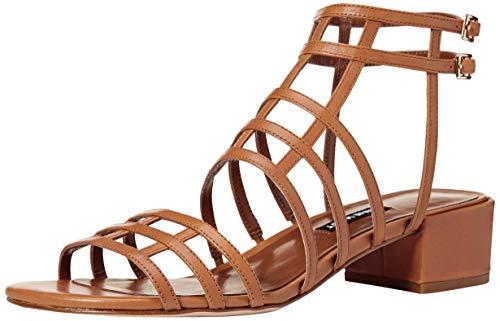 Nine West Women's Xerxes Leather Heeled Sandal, Dark Natural, 7 M US