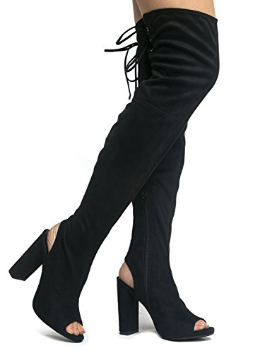 Faux Suede Peep Toe - Thigh High Zipper Closure Lace Up - Chunky High Heel Over The Knee Boot 8 (Go Go Boots Australia)