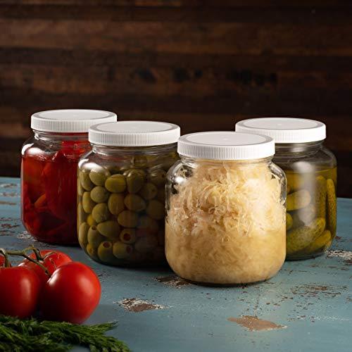 Half Gallon Glass Mason Jar (64 Oz - 2 Quart) - 4 Pack - Wide Mouth, Plastic Airtight Lid, USDA Approved BPA-Free Dishwasher Safe Canning Jar for Fermenting, Sun Tea, Kombucha, Dry Food Storage, Clear by Paksh Novelty (Image #8)