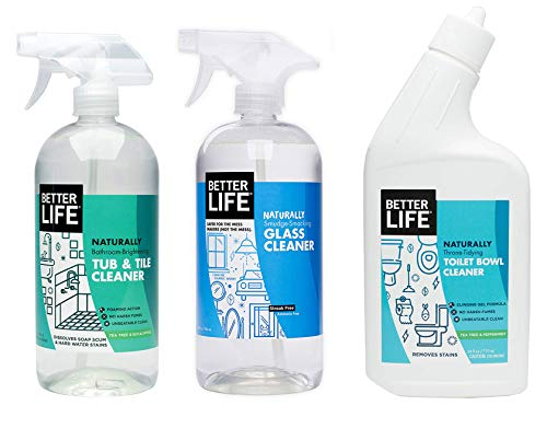 Better Life, Natural Bathroom Cleaning Kit -Toilet Bowl Cleaner, Glass Cleaner, Tub and Tile Cleaner ()