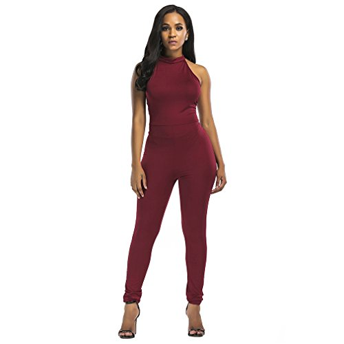 Kumono Womens Sexy Sleeveless Strappy Halter Neck Backless Bodycon Jumpsuit Rompers, Wine Red, Large (Halter Neck Jumpsuit)