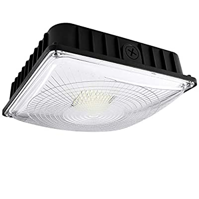 Luxrite 45W LED Canopy Light Fixture, 5180 Lumens, 250W HID/HPS Equivalent, 5000K Bright White, DOB, 120-277V, Dimmable, IP65 Waterpoof - Gas Station, Warehouse, Garage, Outdoor Commercial Lighting