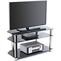 RFIVER Black Tempered Glass TV Stand Suit for up to 60 inch LED, LCD, OLED and Plasma Flat Screen TVs, Black Glass ,Chrome tube TS1001