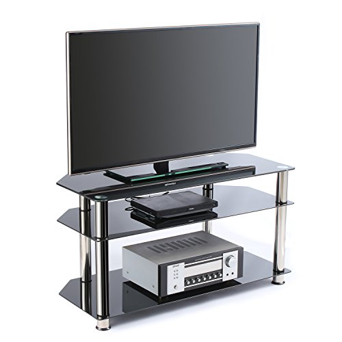 Rfiver Tempered Glass Corner TV Stand in Black Suit for LED, LCD, OLED and Plasma Flat Screen TVs up to 46-Inch,Black Glass and Chrome Tube TS1001
