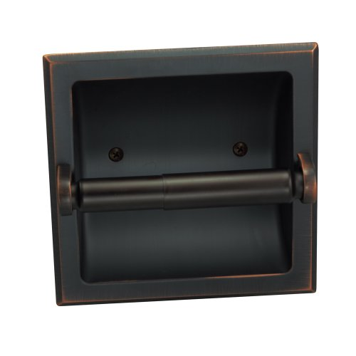 (Designers Impressions Oil Rubbed Bronze Recessed Toilet/Tissue Paper Holder All Metal Contruction - Mounting Bracket Included)