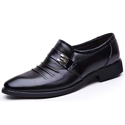MSM4 Herren Kleid Derby Schuhe aus Echtem Leder Schnürschuhe 461 Slip-on(black)