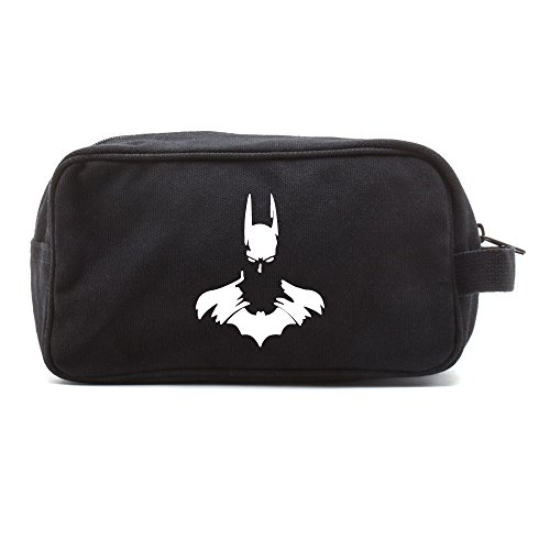 Batman Face Silhouette Dual Two Compartment Toiletry Dopp Kit Bag, Black & White