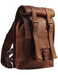 Men's Leather Vintage Roll On Laptop Backpack Rucksack One Size Brown