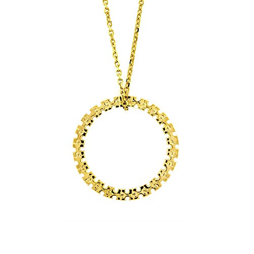 21mm Autism Awareness Jigsaw Puzzle Circle of Life Charm and Chain in 14K Yellow Gold ()