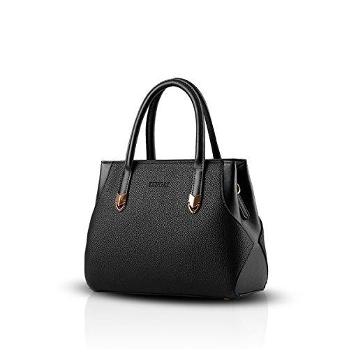 Nicole & Doris New Simple Handbags Purses Totes For Women Waterproof Shoulder Bags Woman Commuter Durable Black Pu