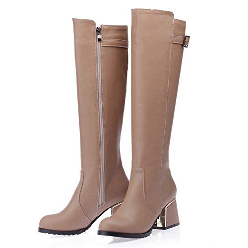 COOLCEPT Damen Elegant Schuhen mit hohen Absätzen Reißverschluss Blockabsatz knie hoch stiefel Aprikose