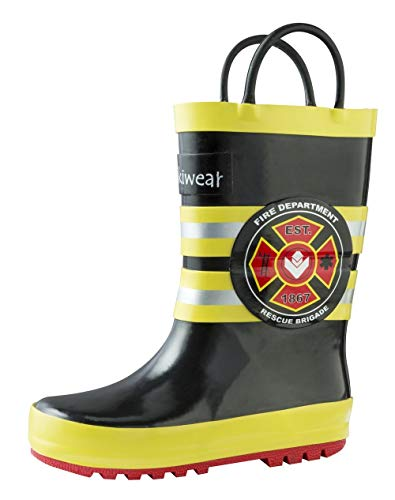 OAKI Kids Rubber Rain Boots with Easy-On Handles, Fireman Rescue, 11T US Toddler