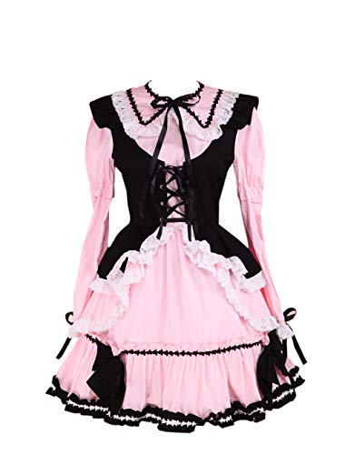 Antaina Pink Cotton Black Vest Ruffle Lace Bows Gothic Maid Lolita Cosplay Dress,M