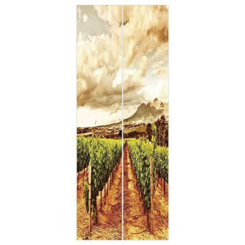 (VAMIX Wallpaper Stickers [ Farm House Decor,Grape Valley Clouds Over Vineyard Natural Fruit Plantation in Autumn Garden Theme,Green Brown ] Mural Door Wall Stickers Wallpaper Mural DIY)