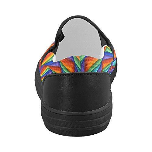 Artsadd Psychedelische Regenboog Op Maat Gemaakte Slip-on Canvasschoenen Voor Dames Model019
